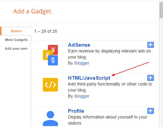 add gadget blogger html javascript
